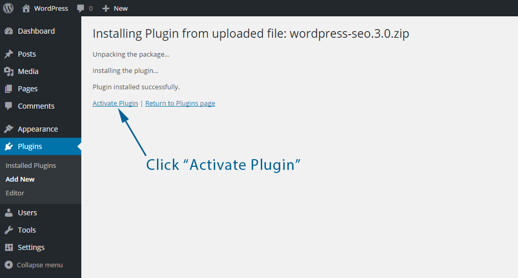 Activate A Uploaded WordPress Plugin