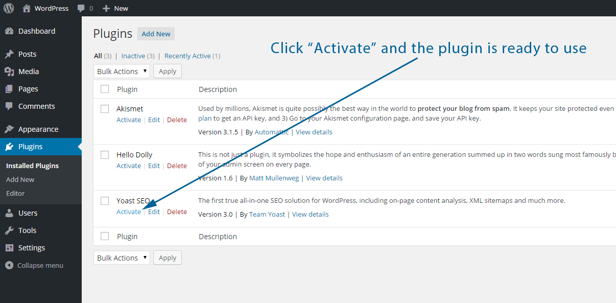 Activate a WordPress plugin