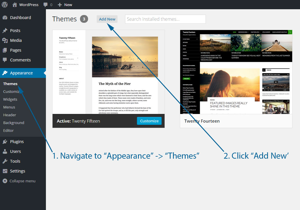 Add a new WordPress theme