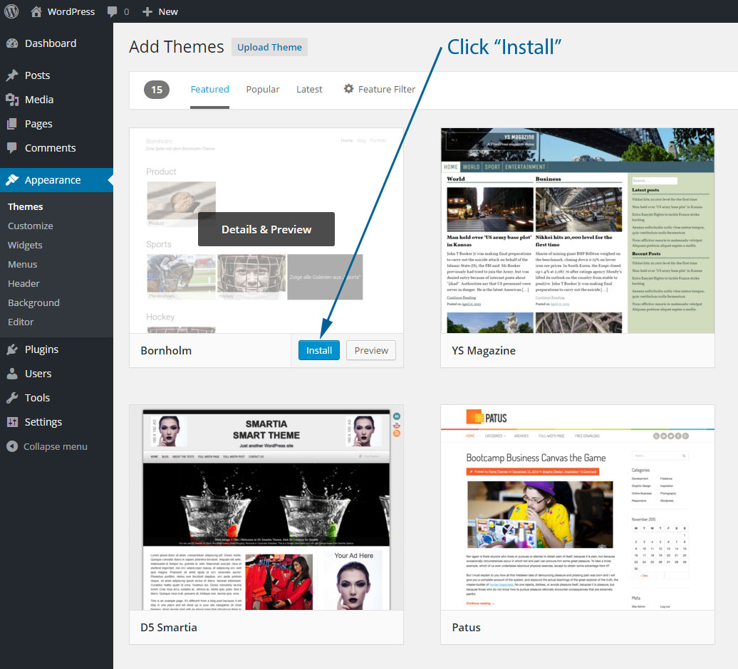 Install a new WordPress theme