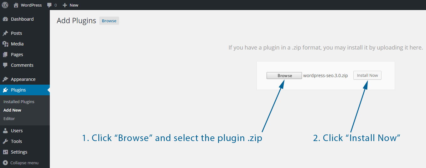 Upload and install a WordPress plugin