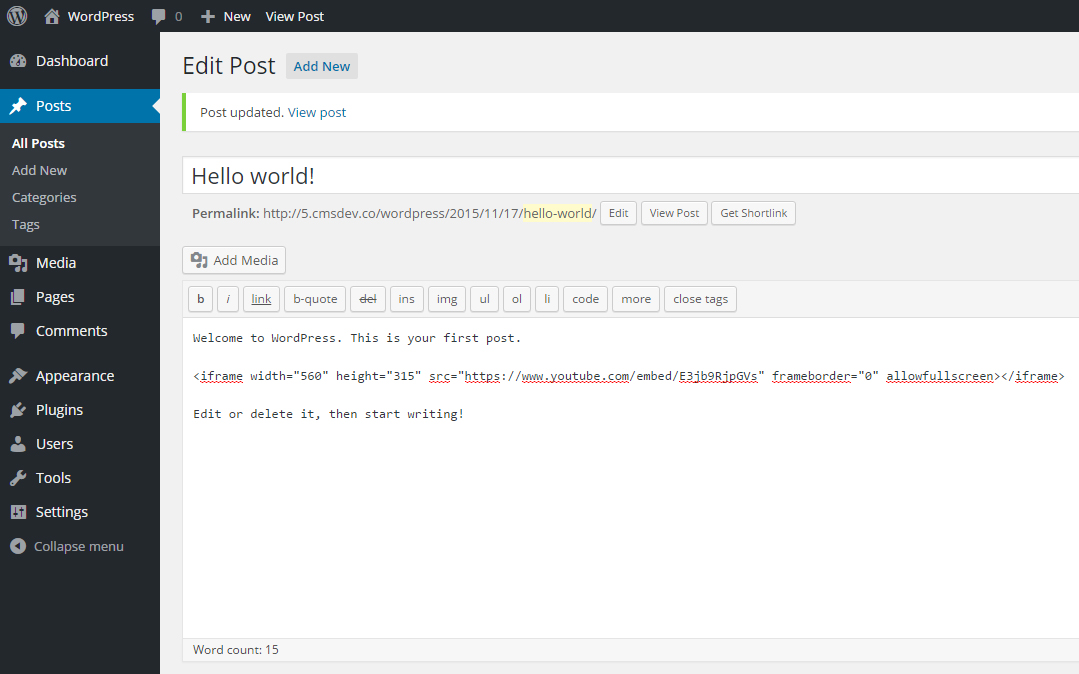 Paste embedded code in WordPress code editor