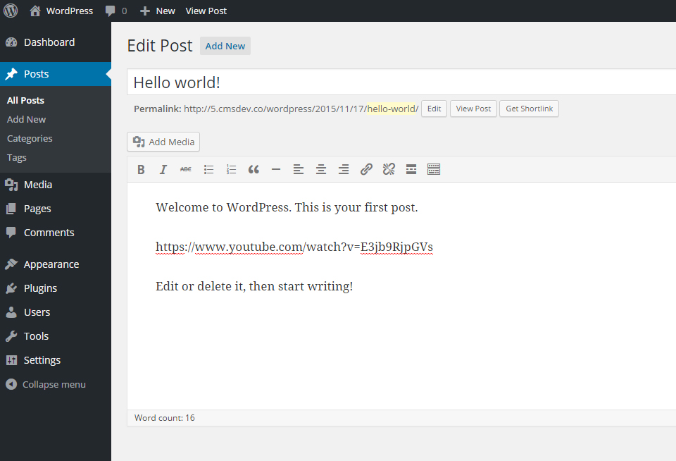 Paste a Video URL in the WordPress editor