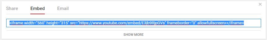 Get Embed Video Code
