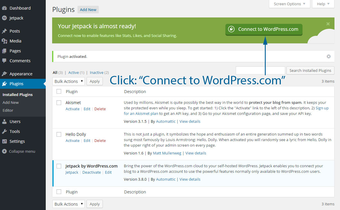 connect to wordpress.com