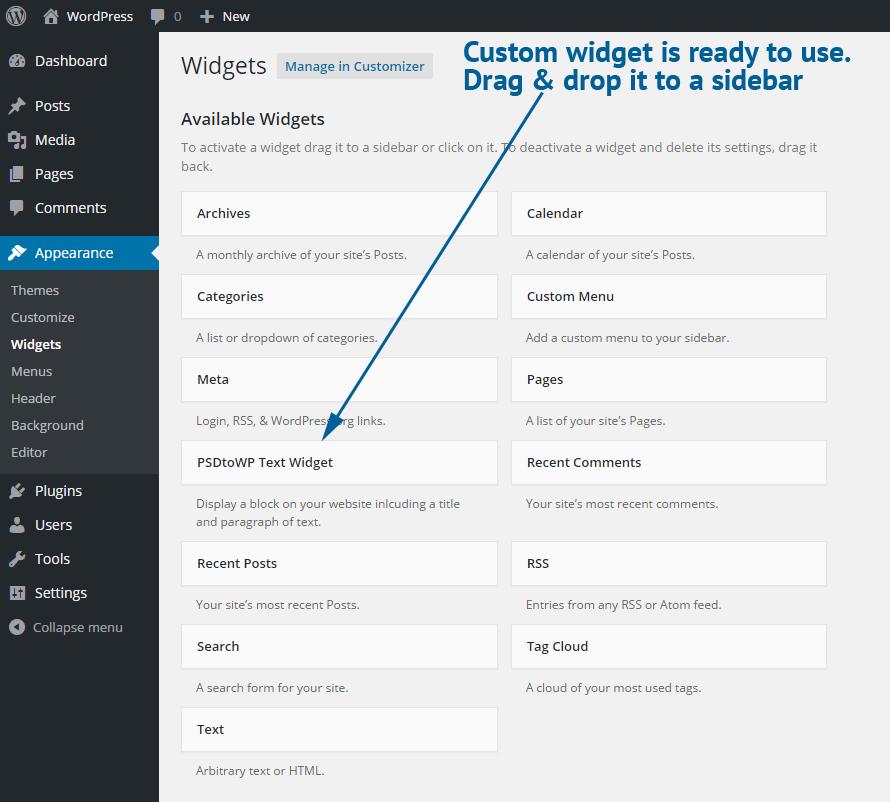 Custom WordPress widget ready