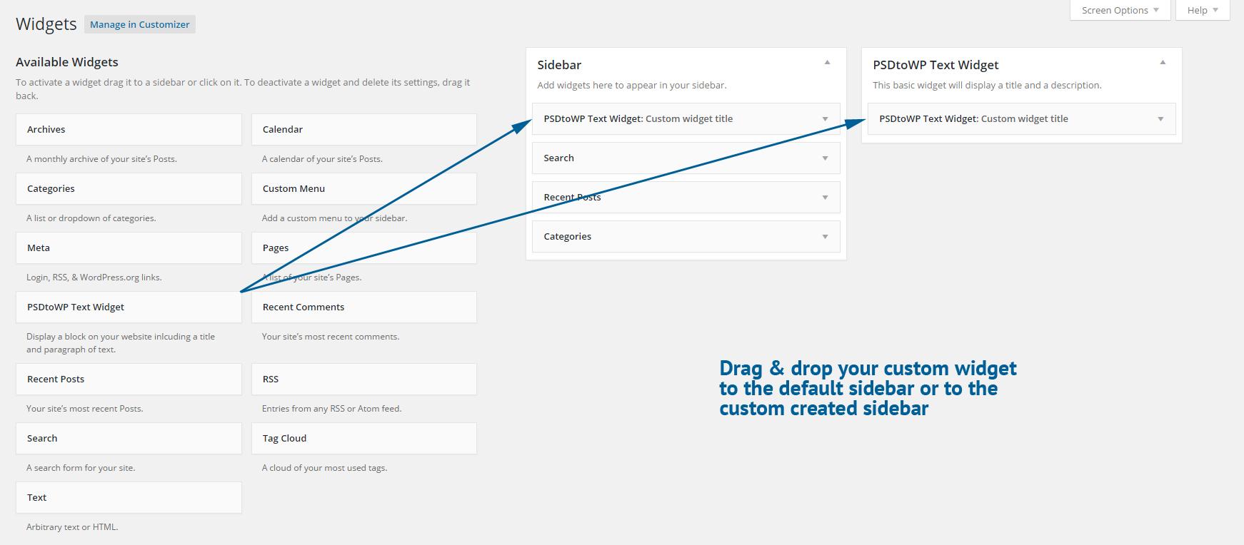 Drag & Drop WP widgets