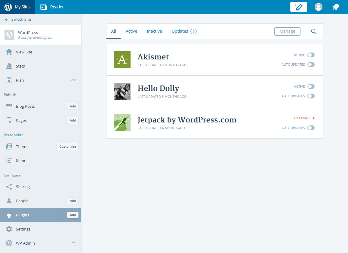 manage self hosted WordPress with Calypso