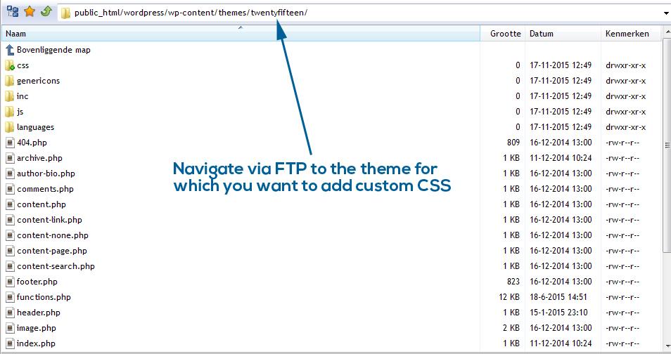 Navigate via FTP to WordPress theme