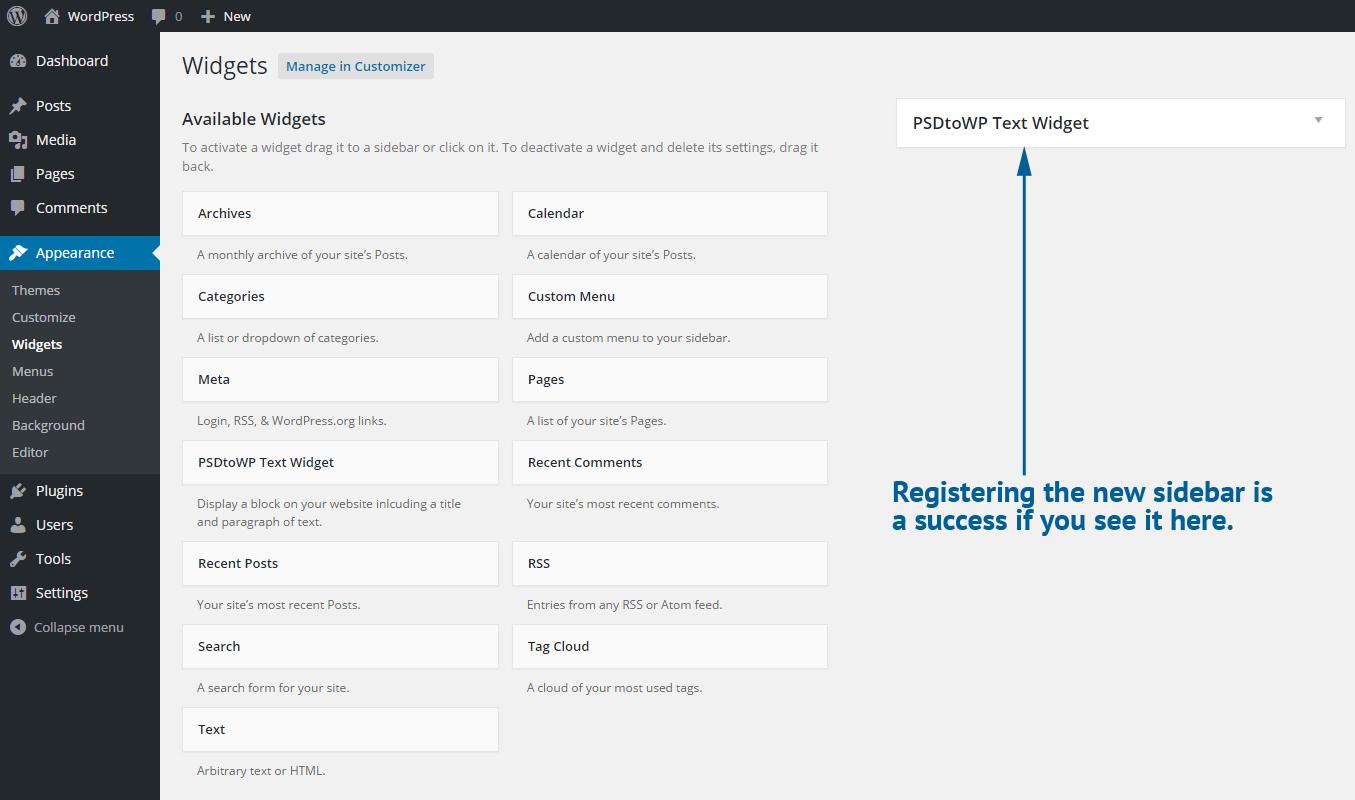 Register new Sidebar in WP