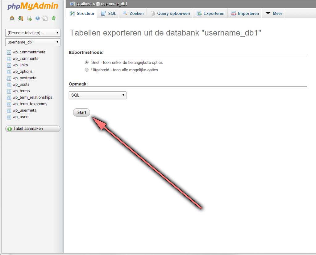 Start database export