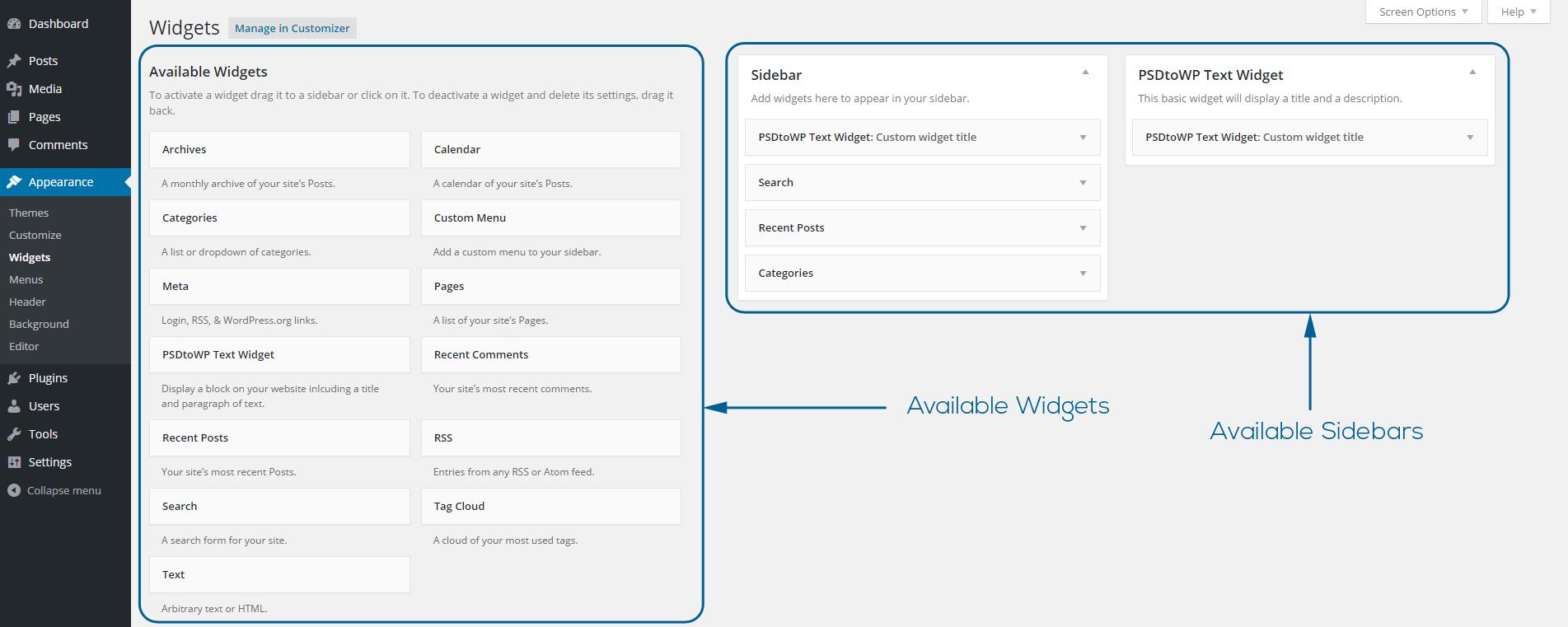 Widget Sidebars